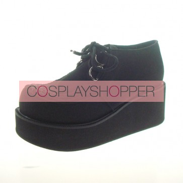 "Black 2.5"" Heel High Cute Synthetic Leather Round Toe Cross Straps Platform Lady Lolita Shoes"