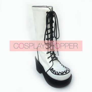 "White 3.1"" Heel High Lovely Suede Round Toe Cross Straps Platform Lolita Boots"
