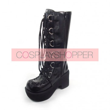 "Black 3.5"" Heel High Beautiful PU Round Toe Cross Straps Platform Girls Lolita Boots"