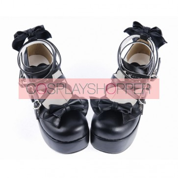 "Black 3.1"" High Heel Lovely Synthetic Leather Criss Cross Straps Bow Decoration Platform Girls Lolita Shoes"