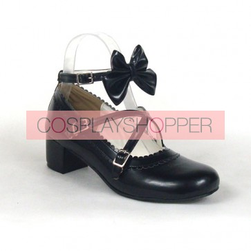 "Black 1.8"" Heel High Cute Synthetic Leather Round Toe Bow Platform Lady Lolita Shoes"