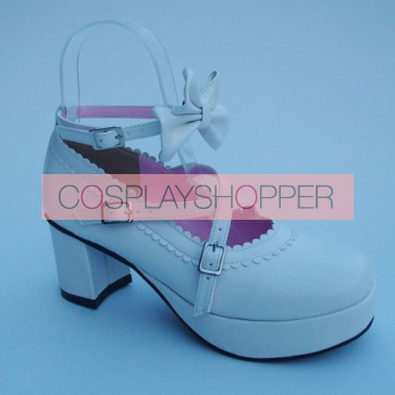 "White 2.5"" Heel High Lovely Patent Leather Round Toe Cross Straps Platform Lady Lolita Shoes"