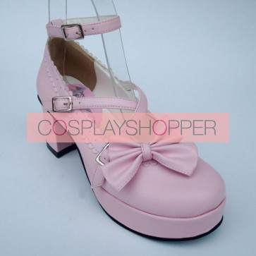 "Pink 2.5"" Heel High Glamorous Suede Round Toe Bow Platform Lady Lolita Shoes"
