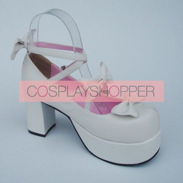 "White 3.1"" Heel High Adorable Patent Leather Round Toe Bow Platform Lady Lolita Shoes"