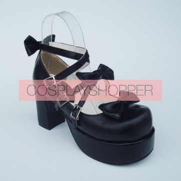 "Black 3.1"" Heel High Special PU Round Toe Bow Platform Lady Lolita Shoes"