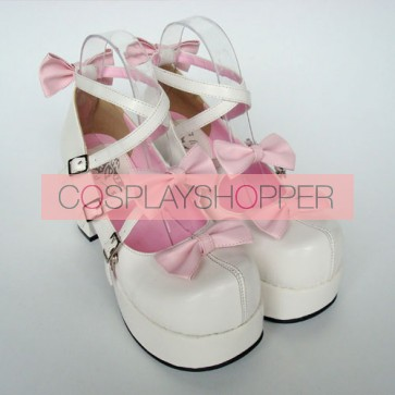 "Pink & White 3.1"" Heel High Gorgeous Suede Round Toe Bow Platform Lady Lolita Shoes"