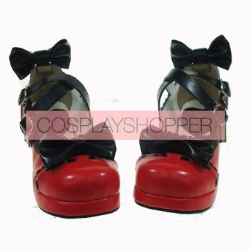 "Red & Black 1.8"" Heel High Cute PU Round Toe Bow Platform Lady Lolita Shoes"