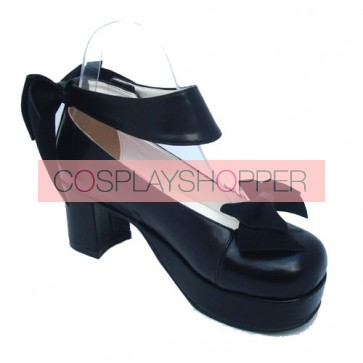 "Black 3.1"" Heel High Elegant PU Round Toe Cross Straps Platform Women Lolita Shoes"