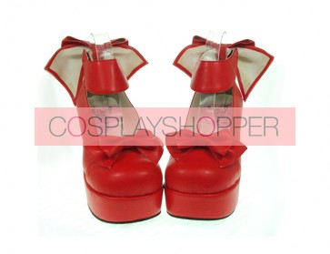 "Red 3.1"" Heel High Lovely PU Round Toe Cross Straps Platform Women Lolita Shoes"