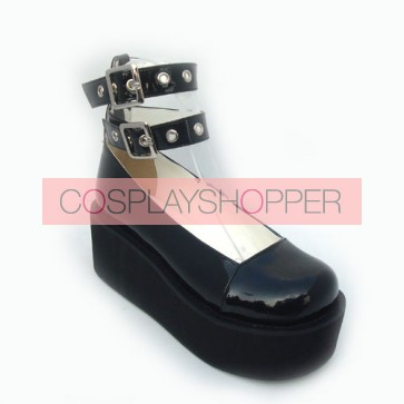 "Black 2.5"" Heel High Elegant Synthetic Leather Round Toe Cross Straps Platform Women Lolita Shoes"