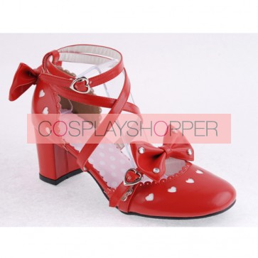 "Red 2.5"" Heel High Classic Synthetic Leather Point Toe Cross Straps Platform Women Lolita Shoes"