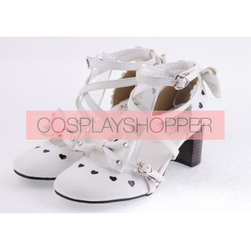 "White 2.5"" Heel High Elegant Patent Leather Round Toe Cross Straps Platform Women Lolita Shoes"