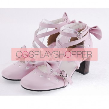 "Pink 2.5"" Heel High Cute Patent Leather Point Toe Cross Straps Platform Women Lolita Shoes"