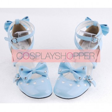 "Sky-Blue 2.5"" Heel High Elegant Patent Leather Point Toe Cross Straps Platform Women Lolita Shoes"
