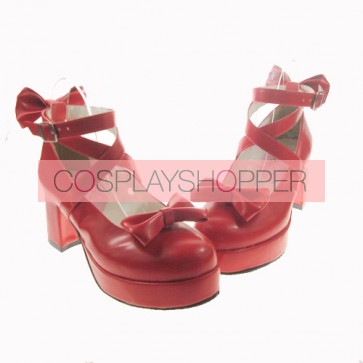 "Red 2.5"" Heel High Gorgeous Patent Leather Point Toe Cross Straps Platform Women Lolita Shoes"