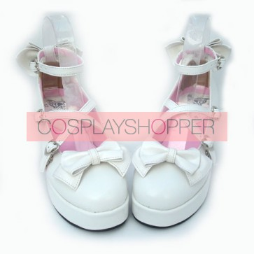 "White 2.9"" Heel High Beautiful Patent Leather Point Toe Bow Platform Women Lolita Shoes"