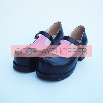 "Black 1.8"" Heel High Cute Synthetic Leather Round Toe Cross Straps Platform Women Lolita Shoes"