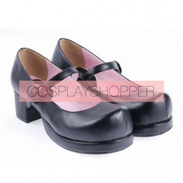 "Black 1.8"" High Heel Gorgeous Polyurethane Wedge Toe Strap Platform Girls Lolita Shoes"