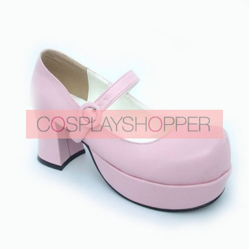 "Pink 2.9"" Heel High Classic Suede Point Toe Cross Straps Platform Women Lolita Shoes"