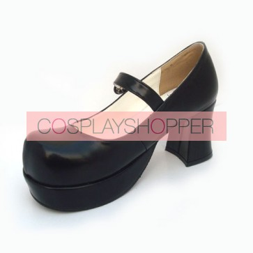 "Black 2.9"" Heel High Beautiful Synthetic Leather Point Toe Cross Straps Platform Women Lolita Shoes"