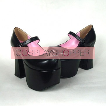 "Black 4.9"" Heel High Lovely Polyurethane Round Toe Cross Straps Platform Women Lolita Shoes"