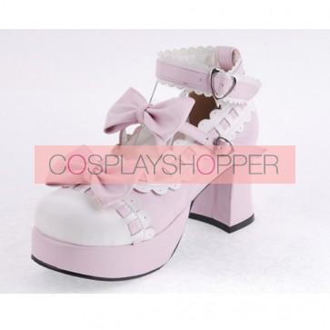 "Pink & White 2.7"" Heel High Beautiful Synthetic Leather Round Toe Cross Straps Platform Girls Lolita Shoes"