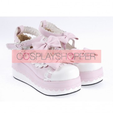 "Pink 2.8"" High Heel Glamorous Synthetic Leather Round Toe Ankle Straps Bow Decoration Platform Girls Lolita Shoes"