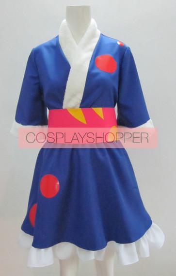 K-ON! Azusa Nakano Blue Kimono Cosplay Costume