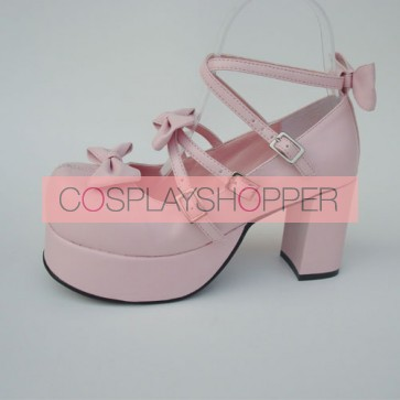 "Pink 3.1"" Heel High Elegant Patent Leather Round Toe Bow Platform Lady Lolita Shoes"