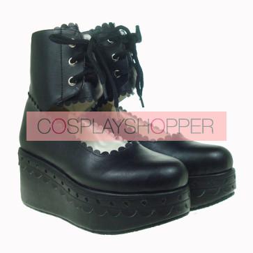 "Black 2.7"" Heel High Adorable PU Round Toe Cross Straps Platform Girls Lolita Shoes"