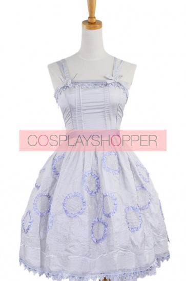 Gray Sleeveless Knee-length Sun Flower Floral Cotton Sweet Lolita Dress
