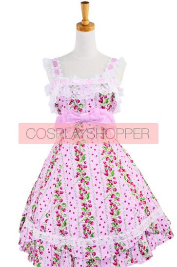 Pink Lace Trim Ruffles Sleeveless Terylene Lolita Dress