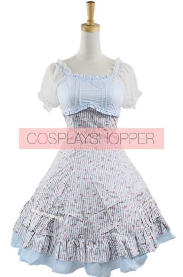 Sweet Sky-blue Short Sleeveless Girls Cotton Lolita Dress