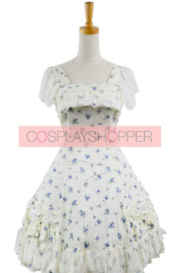 Floral Classic Short Sleeves Cotton Lolita Dress