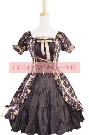 Classic Brown Floral Puff Short Sleeves Cotton Lolita Dress