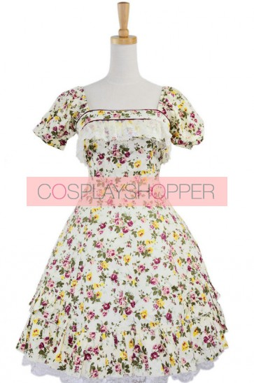Short Sleeves Lovely 100% Cotton Lolita Dress