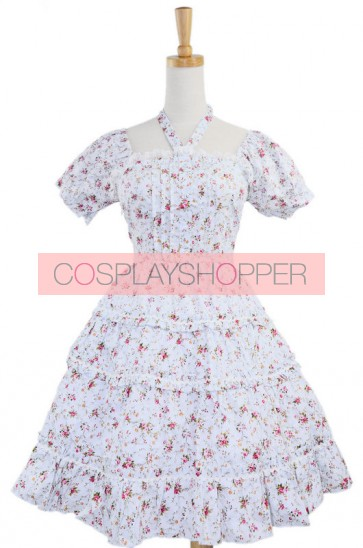 White 100% Cotton Floral Bow Sash Sweet Lolita Dress