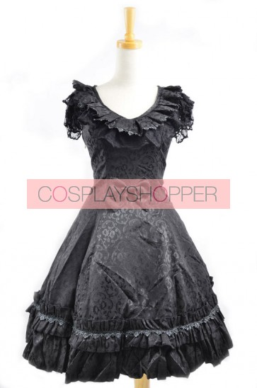 Sweet Black Satin Cotton Bowknot Womens Lolita Dress