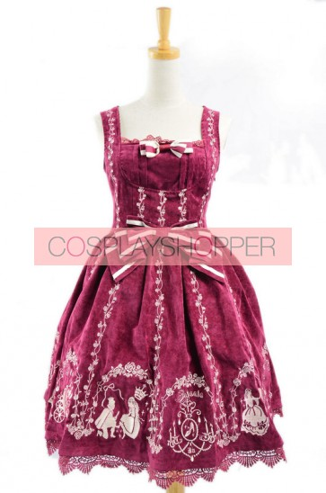 Graceful Red Velvet Bow Lace Classic Lolita Dress