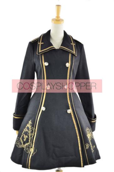 Black Turndown Collar Long Sleeves Wool Flannel Lolita Coat
