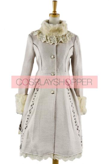 Charming Sweet White Wool Lolita Coat