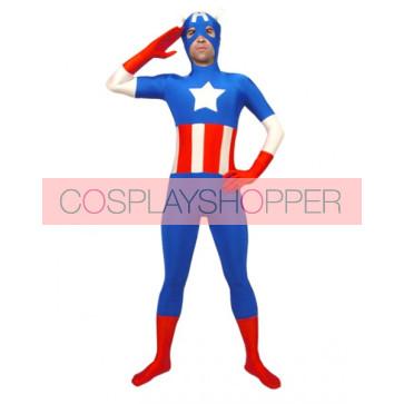 American Captain Lycra Spandex Superhero Zentai Suit