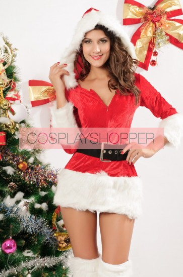 Attractive Velvet Long Sleeves Lady Christmas Dress