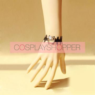 Beautiful Black Leather Button Lady Lolita Wrist Strap