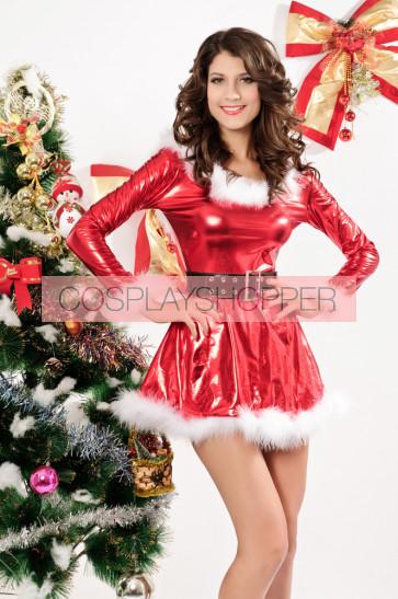 Beautiful Long Sleeves Acrylic Lady Christmas Dress