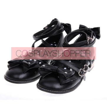 "Black 1.0"" Heel High Cute Suede Round Toe Bow Platform Girls Lolita Shoes"