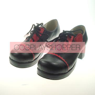 "Black 1.8"" Heel High Beautiful Synthetic Leather Round Toe Cross Straps Platform Girls Lolita Shoes"