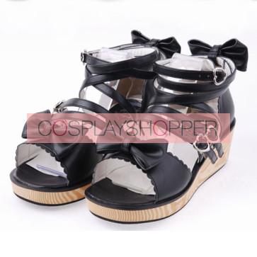 "Black 2.0"" Heel High Lovely PU Point Toe Ankle Straps Platform Lady Lolita Sandals"