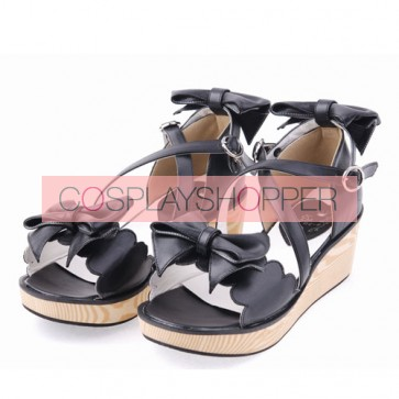 "Black 2.1"" Heel High Lovely PU Point Toe Bowknot Platform Lady Lolita Sandals"
