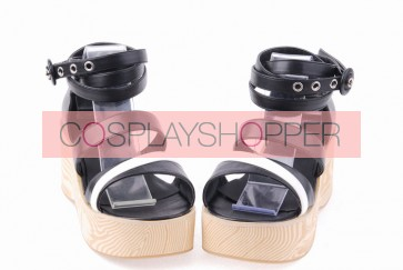 "Black 2.7"" Heel High Elegant PU Point Toe Ankle Straps Platform Lady Lolita Sandals"